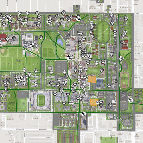 Map of Bicycle Racks, Repair Stations, and Trails on CSU's Main Campus